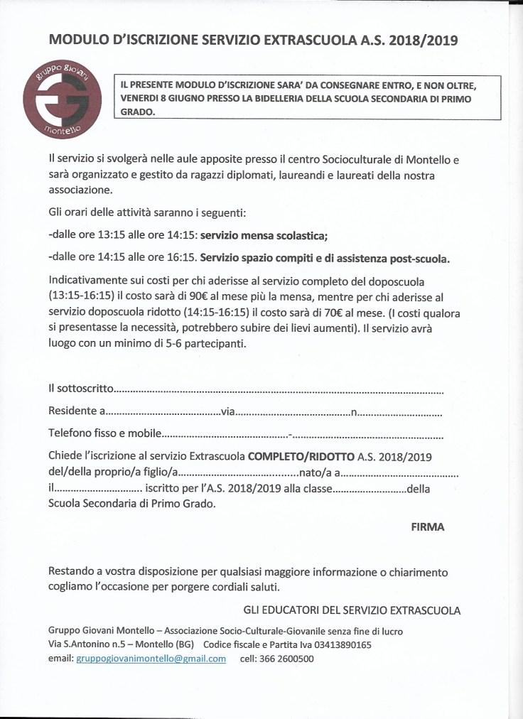Modulo iscrizione Extra-scuola 2018/19